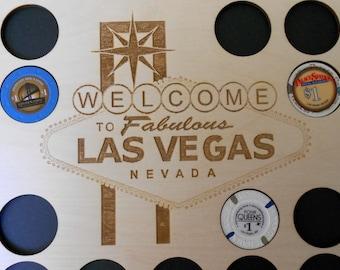 Las Vegas Poker Chip Display Frame Insert SALE Laser-engraved Vegas logo Poker Player Gift Vegas poker Holder for 20 Casino chips