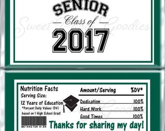 Set of 12 -  Graduation Candy Bar Wrappers - Personalized Graduation Party Favors - Chocolate Bar Favors - Methacton High School Green