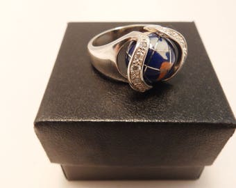 World Earth Ring Blue Lapis Gemstone Stone 925 Sterling Silver Vintage Ring Size 7