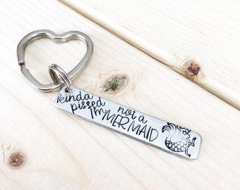 Mermaid jewelry - Hand stamped keychain - Beach lover - Mermaid keychain - Hand stamped jewelry  - Beachy jewelry - I'm really a mermaid