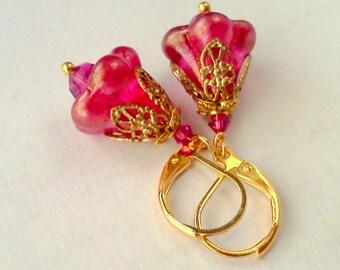 Fuchsia Earrings, Magenta Earrings, Bell Flower Dangles, Handmade Floral Earrings, Bright Pink Earrings, Vintage Style, Filigree Earrings