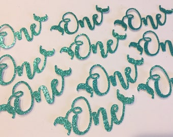 One cut outs confetti - Little Mermaid Ariel, Mermaid Letters, Happy Birthday Under The Sea Party Decor, First 1