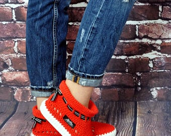 Crochet Boots Knit boots  for  street adult   outdoor made to Order Boots crochet  Crochet Knitted Shoes Outdoor Boots  POPPY