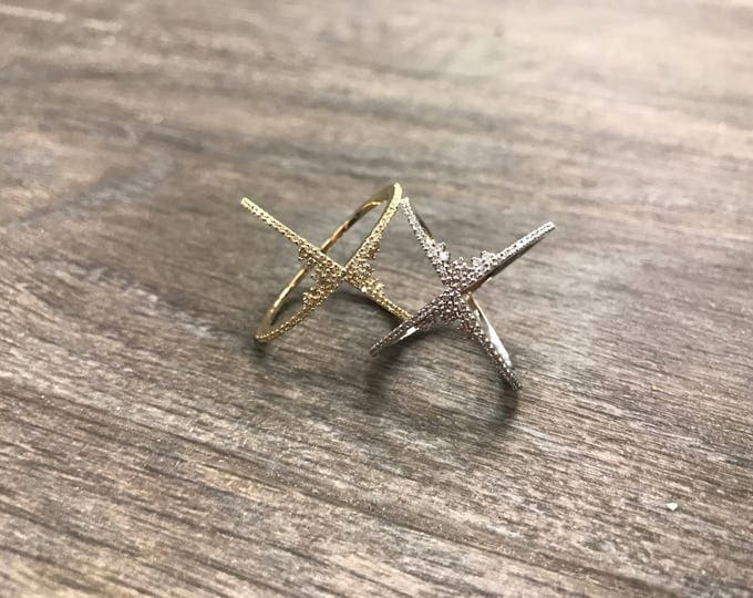 Frosted Diamond X Ring in 14k Gold