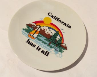 Vintage 1980s California Has it All Collectible Souvenir Plate/Rainbow/Pride/Lake/Sailboat