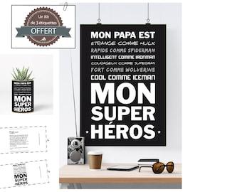 Fichier numérique A3 - Affiche- Super Héros Papa - père, papa, super héros, cadeau, fête des pères, anniversaire, homme - B