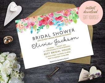 Bridal Shower Invitation Instant Download, Editable Bridal Shower Invitation Template, Printable PDF, DIY Bridal Brunch Invitation, BS-04