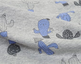 Cotton Jersey Knit Fabric Cactus By The Yard
