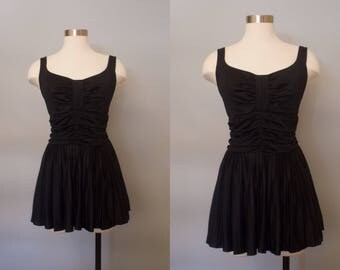 1950s Black Swimsuit w/ Skirt / Vintage Skirted Bathing Suit