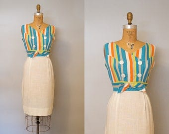 Reserved Lakeview Dress / 1950s Striped Linen Dress / 50s Drss