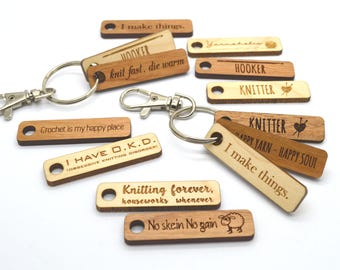 Make your own Customized Key Chain with quotes - Knitter - Crochetter - Maker - Laser engraved - Wood tags-Wooden tags