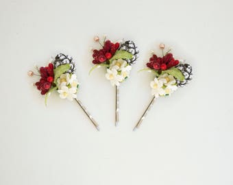 3 pcs.Rustic hair bobby pins, Pine cone hair pin Rustic hair accessory Woodland wedding Forest wedding Winter hair pins, Christmas accessory