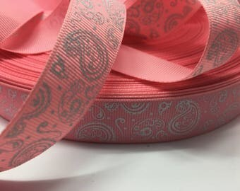 "3 yards 7/8"" Pink glitter paisley grosgrain ribbon"
