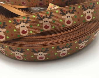 "US Designer 7/8"" Christmas Reindeer Glitter on Brown Grosgrain Ribbon"