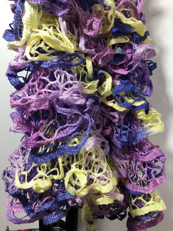 Handknit Ruffled Scarf purple yellow lavender