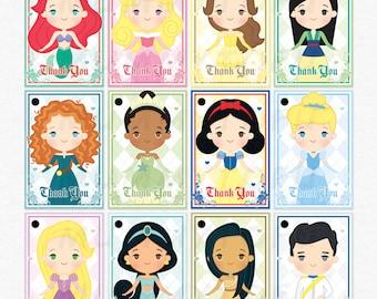 Disney Princess Birthday Thank You Favor Tags Ariel Aurora Belle Snow White Cinderella Jasmine Rapunzel Mulan Merida Tiana Pocahontas Prince