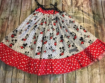 Disney mickey mouse dress, cotton mickey dress, custom made dress for little girls, mickey mouse red polka dot dress, Disney dress, mickey