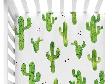 Cactus | Green Prickly Cactus Crib Sheet | Cactus Fitted Crib Sheet | Cactus Baby Nursery