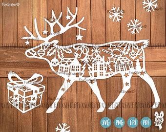 Reindeer, Deer svg Papercut Template | Christmas Deer | winter svg |deer antlers | village | Animal | Paper Cut file | present | for Cricut