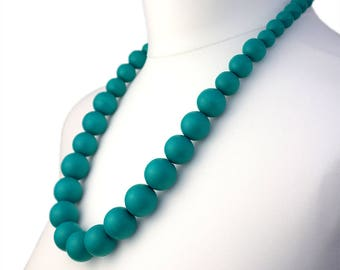 Long Turquoise Wooden Bead Necklace | Chunky Turquoise Necklace | Long Turquoise Necklace