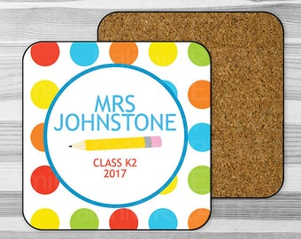 Personalised Single Coaster Teacher Appreciation Gift -  End Of Term Gift - Gift For Teacher!