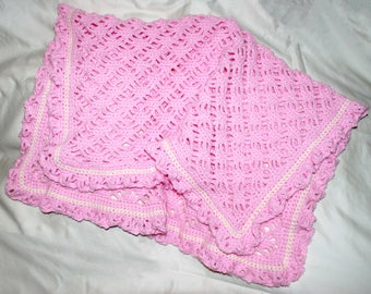 Pink and White Baby Blanket / Crochet Baby Blanket / Baby Girl Blanket / Pink Crochet Blanket