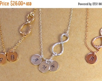 ON SALE SALE 20 % Personalized Infinity Gold Necklace, Initial Infinity Disc Necklace, Sterling silver Infinity, 1 2 3 4 5 Discs Infinity
