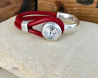 Swarovski and silver red leather bracelet