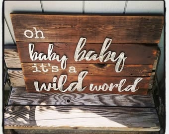 Oh baby baby it's a wild world, sign