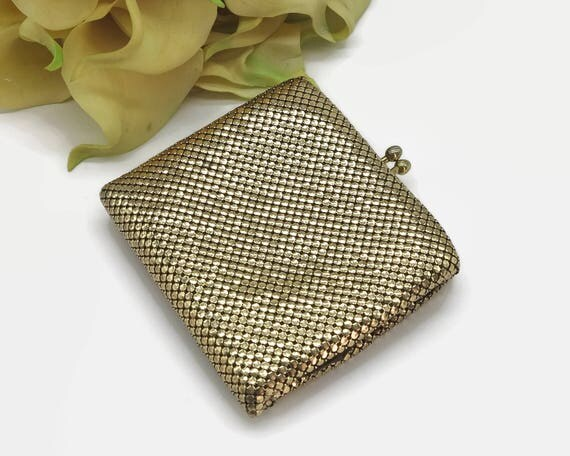 Gold mesh wallet with coin purse, Glomesh brand, made in Australia, coin section and 2 folding money sections, circa 1980s