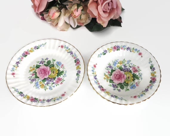 Floral dish and plate, Grosvenor bone china, fluted edges, gilt trim, multi colored, made in England, vintage, circa 1940s