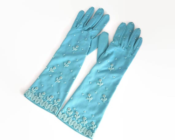 Vintage turquoise colored beaded gloves, longer than wrist length, size 6.5, nylon, circa 1960s