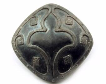 20mm Czech Victorian antique fleur de lys iridescent black square glass button B301-43