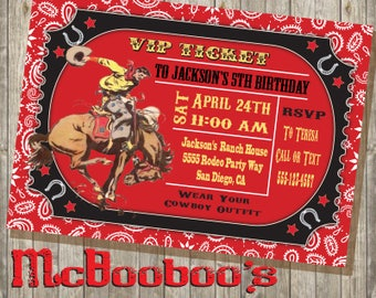 Cowboy Rodeo Western Birthday Party Invitation Ticket