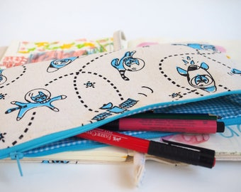 Cat pencil case, cats pencil pouch, screen print, cat makeup bag, cosmetic bag, makeup storage, cat print, red, space print
