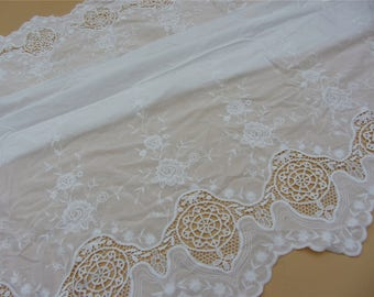 hollow up rose lace fabric,white embroidery wedding dress lace fabric,DIY skirt craft