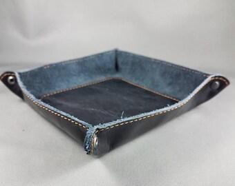 Vide-poche Rouxie en cuir noir