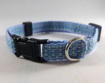 Cat Collar - Handwoven; Adjustable; Breakaway safety buckle; Light blue and aqua; Optional tag