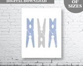 Laundry Wall Art Printable. Clothes Peg Wall Art. Grey and Blue Laundry Art. Grey Laundry Decor. Blue Peg Laundry.Laundry Decor. Grey Blue