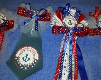 Nautical Baby shower set Mommy corsage Daddy Tie 2 smaller Grandma corsages