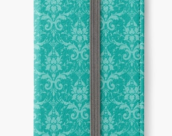 Folio Wallet Case for iPhone 8 Plus, iPhone 8, iPhone 7, iPhone 6 Plus, iPhone SE, iPhone 6, iPhone 5s - Turquoise Damask Pattern Case