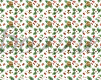 Cotton Christmas wrapping paper sheets Christmas gift wrap cotton branch - berry - evergreen - pine cone - cotton plant - watercolor GWWC32