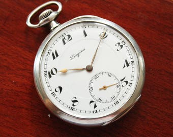 Longines Sterling Silver Pocket Watch - Cal. 19.25 - Antique Watch