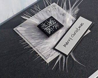 Handmade Christmas Cards for Mum & Dad, Sister, Son, Brother, Grandparents etc 'Black Silver'