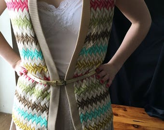 Vintage Women's Colorul 1960's/1970's Colorful Vest. Cruelty Free All Acrylic. Size Medium. Preppy.Hipster.Grandpa Sweater Vest. Bleeker Str