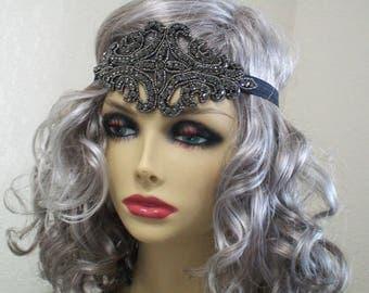 Great Gatsby Headband Flapper Headpiece Art Deco 1920s Headband Downton Abby Headband Beaded Art Deco Rhinestone Headband Roaring 20s