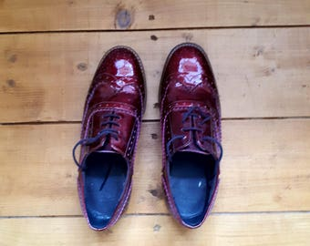 Shiny Deep Crimson Red Brogue Lace Up Shoes