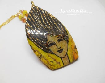 Summer Wind black & yellow polymer clay pendant necklace charm resin one of a kind handmade