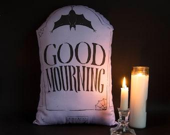 Good Mourning - Pastel Purple Edition- Large Handmade Plush Throw Pillow - Horror Inspired Home Decor