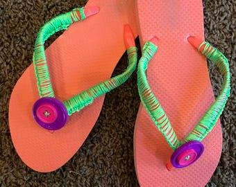 Flip flops, beach, decorated flip flops, crocheted flip flops, fushia flip flops, custom flip flops, size 8 womens flip flops